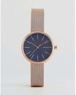 Rose Gold Signatur Mesh Watch