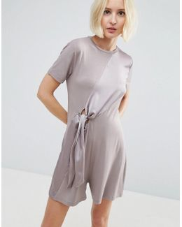Knot Front Mixed Fabric Tee Romper