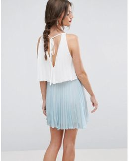 Tiered Color Block Mini Pleated Dress