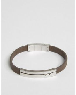 Logo Leather Bracelet In Brown