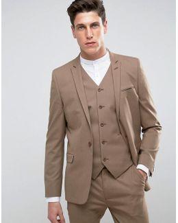 Skinny Suit Jacket In Latte Brown
