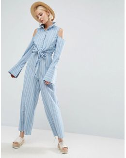 Shirt Jumpsuit With Tie Front Detail And Cold Shoulder In Stripe