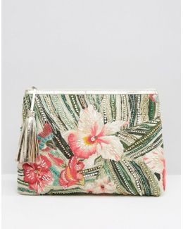 Tropical Embroidered Clutch Bag