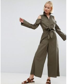 Shirt Jumpsuit With Tie Front Detail And Cold Shoulder