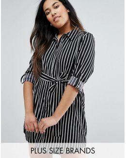 Plus Shirt Dress In Stripe