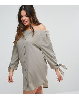 Plus Off Shoulder Dress With Tie Sleeves