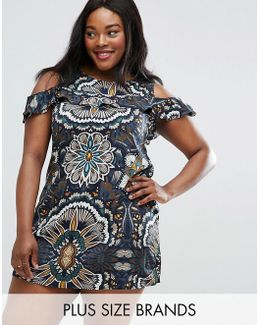 Plus Dress With Cold Shoulder And Frill Detail