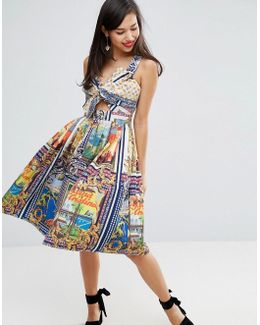 Bow Detail Cut Out Skater Dress In Postcard Print