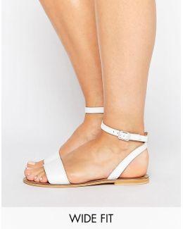 Flique Wide Fit Leather Flat Sandals