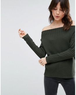 Sweater With Off Shoulder In Rib