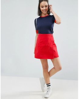 Denim Wrap Skirt In Red