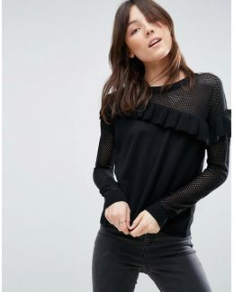 Jumper With Mesh And Frill Detail