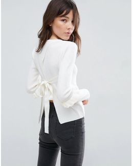 Sweater With Frill Sleeve And Open Back