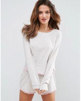 Oatmeal Pom Pom Long Sleeve Tee & Short Pajama Set