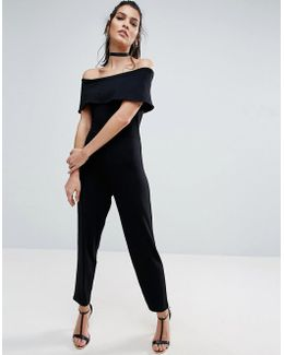 Deep Bardot Jersey Jumpsuit With Peg Leg