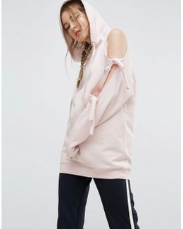 Hoodie With Knot Detail And Cold Shoulder