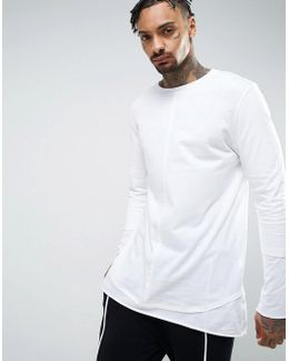 Relaxed Skater Super Longline Double Layer T-shirt In White