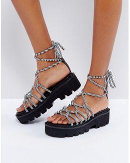 Fruitful Chunky Tie Leg Sandals