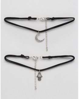 Pack Of 2 Hamsa & Moon Cord Choker Necklaces