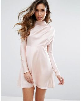 High Neck Dress In Satin
