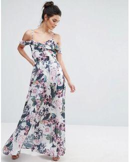 Cold Shoulder Ruffle Floral Maxi Dress