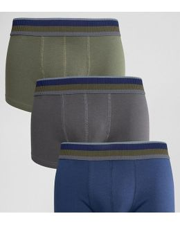 Hipsters With Khaki Stripe Textured Waistband 3 Pack Save