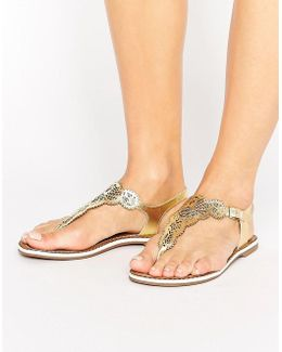 Lill Laser Cut Detail Toe Post Sandals
