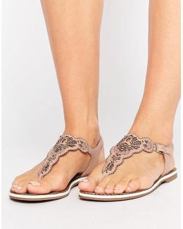 Lill Nude Laser Cut Detail Toe Post Sandals