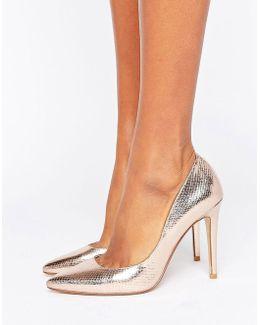 Aiyana Rose Gold Metallic Heeled Court Shoe
