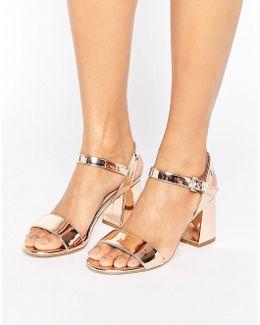 Mylo Rose Gold Block Heel Sandals