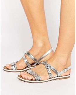 Lilo Laser Cut Leather Flat Sandal