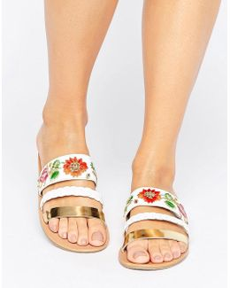 Libertines Embroidered Flat Sandals
