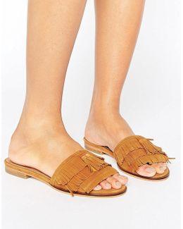 Lassi Suede Fringe Flat Sandals
