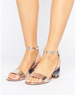 Marble Metallic Gem Block Heeled Sandals