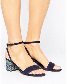 Marble Suede Gem Block Heeled Sandals