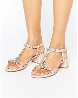Malie Nude Gem Block Heeled Sandals