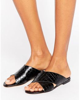 Labrinth Leather Slide Flat Sandals