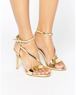 Metallic Assymetric Heeled Sandals