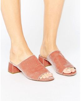 Blush Velvet Heeled Mules