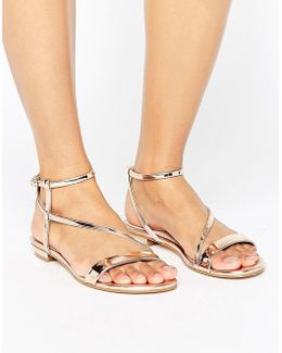 Metallic Assymetric Flat Sandals