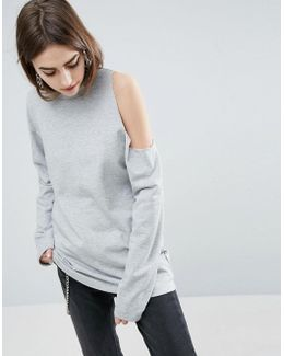 Sweatshirt With Asymmetric Cold Shoulder