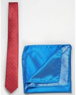 Paisley And Dot Print Tie With Pocket Square