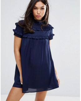 High Neck Dress With Double Frill