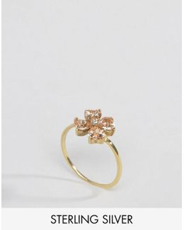 Gold Plated Sterling Silver Flower Ring