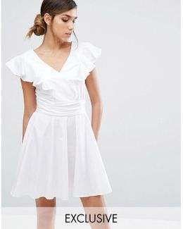 Cotton Mini Skater Dress With Frill