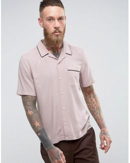 Regular Fit Linen Viscose Shirt With Revere Collar In Pink