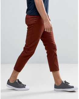 Skinny Super Cropped Chinos In Rust