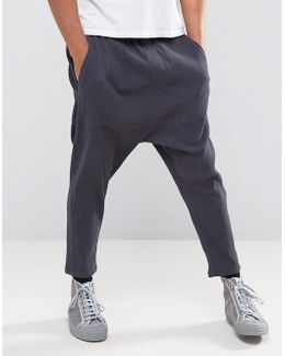 Drop Crotch Cropped Joggers With Pleats In Charcoal