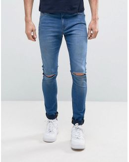Super Spray On Jeans With Knee Rips In Mid Blue