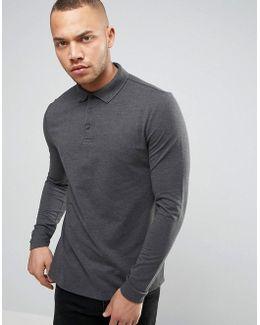 Polo Shirt In Grey Pique With Button Down Collar In Grey
